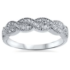 1/4CT Pave Diamond Infinity Vintage Ring 14K White Gold ($243) ❤ liked on Polyvore featuring jewelry, rings, jewelry & watches, pave diamond ring, pave setting ring, white gold jewelry, unisex rings and white gold pave diamond ring