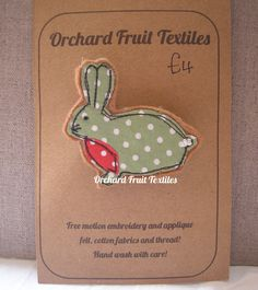 Rabbit Brooch Pin by OrchardFruitTextiles on Etsy