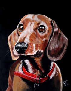 , Acrylic painting by Julie Hollis on Artfinder. Discover thousands of other original paintings, prints, sculptures and photography from independent artists. Arte Dachshund, Dachshund Love, Love Painting, Acrylic Painting Canvas, Hot Dog Weiner, Beagle Mix, Drawing Practice, Lovers Art, Pet Birds