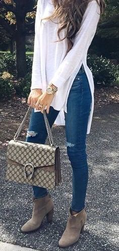 Ideas For Moda Casual Outfits Ideas Ankle Boots Fashion Mode, Look Fashion, Trendy Fashion, Spring Fashion, Winter Fashion, Womens Fashion, Fashion Trends, Fashion Ideas, Affordable Fashion