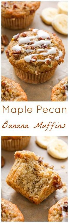 Maple Pecan Banana Muffins are so perfect with a cup of coffee in the morning!