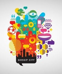 I like the use of simple shapes and objects arranged in an abstract way to create and idea that all of the ideas represented by the images can be found in the city below.