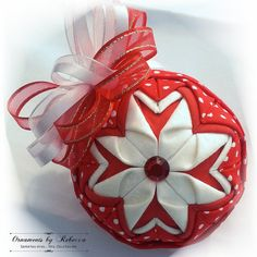 "Christmas Cheer"" is a handmade quilted ornament that looks fabulous on a tree… Folded Fabric Ornaments, Quilted Christmas Ornaments, Beaded Ornaments, Handmade Ornaments, Christmas Crafts, Ornament Box, Ornament Crafts, Fabric Balls, Fabric Origami"