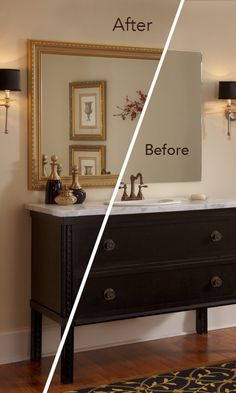 A MirrorMate frame instantly gives the bathroom an on-trend look with a gorgeous pop of gold.