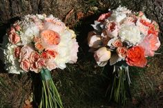 The one on the right...white peony, peach juliet cabbage roses, free spirit roses, champagne roses, and silver accents of brunia and dusty miller.