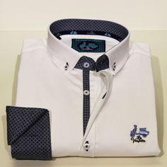 Comprar camisa La Vespita - Camisa lisa blanca con puño y cuello estampado en color marino