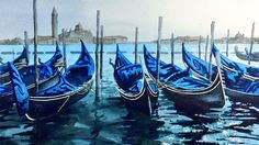 Original watercolour painting of Gondolas in Venice by Ian McKendrick, painted in the style of watercolour artist Joe Frances Dowden (watercolor)