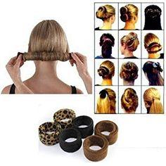 2 Pieces Hair Styling Disk Donut Bun Maker Former Foam French Twist Hairstyle Clip DIY Doughnuts Hair Bun Tool