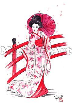 "Geisha on Bridge"" by Martina Gallo- print from original watercolor - Japanese Geisha Original Poster Home Decor Art Print Japanese Drawings, Japanese Artwork, Japanese Painting, Japanese Tattoos, Japanese Watercolor, Japan Illustration, Watercolor Illustration, Watercolor Print, Geisha Kunst"