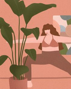 ❥-❥-❥ this yoga girl for your Sunday ❥-❥-❥ Yoga Illustration, Simple Aesthetic, Ipad Art, Yoga Art, Graphic Design Inspiration, Art World, How To Draw Hands, Wallpaper, Drawings