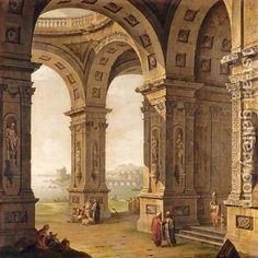 Architectural Capriccio - Antonio Joli - Oil Painting Reproductions