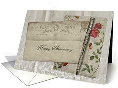 Vintage Postcard Happy Anniversary card (947837)