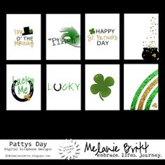 St. Patricks Day. 3x4 Printable Cards. Free Download. #projectlife #digitalprojectlife #scrapbooking