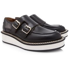 Pre-owned Givenchy Chain Monk Brogues ($630) ❤ liked on Polyvore featuring men's fashion, men's shoes, men's oxfords, black, mens black leather shoes, mens leather shoes, givenchy mens shoes, mens platform shoes and mens rubber sole shoes