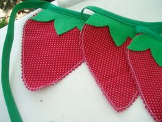 Sweet Strawberry Fabric Pennant Banner Garland-Strawberry Red