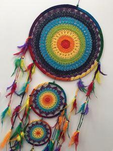 Picture of HUGE CHAKRA COLOUR CROCHET DREAM CATCHER 42 CM MAIN WEB BOHO 157 CM… Dream Catcher Art, Dream Catcher Mobile, Yarn Crafts, Fabric Crafts, Sewing Crafts, Crochet Cross, Crochet Home, Chakra, Crochet Dreamcatcher