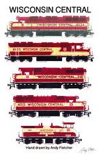 """Wisconsin Central 11""""x17"""" Railroad Poster by Andy Fletcher signed"""