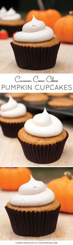 a must-bake this fall | Pumpkin Cupcakes with Cinnamon Cream Cheese Frosting | by Lauren Kapeluck for TheCakeBlog.com