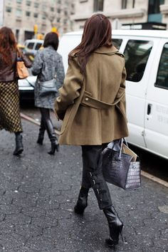 Military-esque coats can be paired with heels to balance the masculine/feminine quality they have :)
