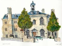 Blue House | Flickr - Photo Sharing! Watercolor Architecture, Watercolor Landscape, Art And Architecture, Watercolor Paintings, Watercolors, Chris Lee, Urban Painting, Building Sketch, Sketch Inspiration