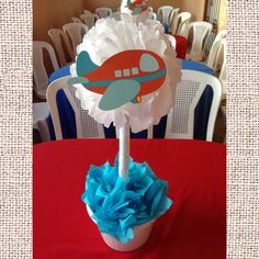 Airplane Baby Shower Centerpiece