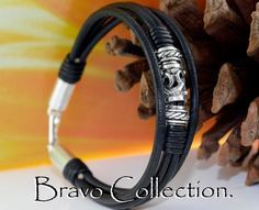 7B-027 Finely Made Solid 925 Sterling Silver & Leather Wristband Men Bracelet.