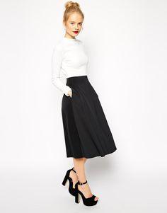 ASOS | ASOS Midi Dress in Texture with Scuba Skirt and High Neck at ASOS
