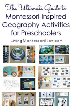 Montessori geography scope and sequence along with a huge list of Montessori-inspired geography activities for preschoolers and kindergartners