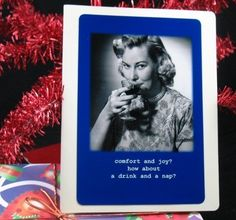 Funny Christmas Card How about a drink and a nap by picardcreative