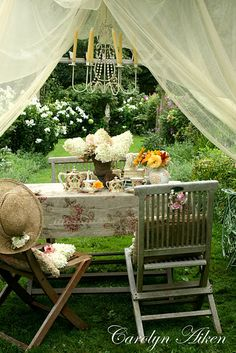 Vintage Romantic Shabby Chic Romantic Dining for two Al Fresco + Outdoor