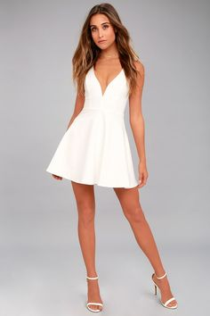 There is so much to adore with the Love Galore White Skater Dress! This thick stretch knit dress has a fitted bodice with princess seams, a deep V-neckline (with hidden V bar), plus a flirty skater skirt. Double straps and hidden zipper at back. Cute White Dress, White Skater Dresses, White Dresses For Women, Little White Dresses, Skater Skirt, Hoco Dresses, Dance Dresses, Club Dresses, Homecoming Dresses
