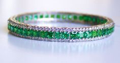Super Sale Indian Ethnic Sterling Silver Cubic Zirconia Diamond And Emerald Hydro Bangles by colorvilla on Etsy