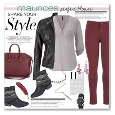 """""""The Perfect Blouse with maurices: Contest Entry"""" by kellylynne68 ❤ liked on Polyvore featuring Givenchy, Arche, maurices and Maurice Lacroix"""
