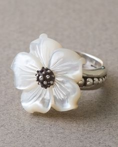 Stephen Dweck MOTHER OF PEARL FLOWER RING