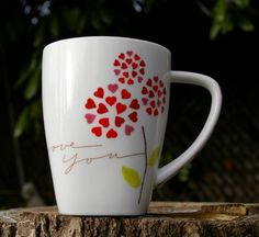 Starbucks Coffee Company I Love You Valentine Heart Petal Flowers 2007 12oz Mug  | eBay