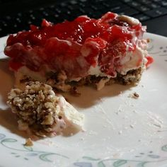 """This is by far the best recipe I have made. I took a recipe for regular strawberry pretzel salad and """"ketofied"""" it. It may look gross in my picture but it tastes PHENOMENAL. Ingredients: CRUST: 1 &..."""
