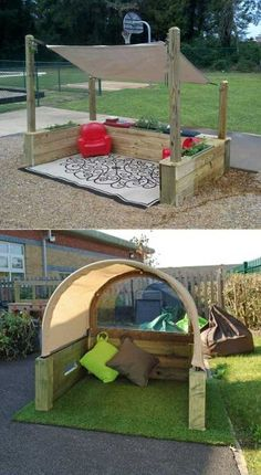 This structure provide an area outside protected from sun and drizzle where kids can play. #kidsplayhouse