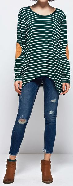 $21.99 Only with free shipping&easy return! This suede top is detailed with striped printing&high low hem. Hit more classic pieces at Cupshe.com