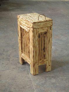 Wood Trash Bin Kitchen Garbage Can Wood Trash by BuffaloWoodShop