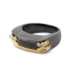 BLACK TAURUS RING by VOTIVE • White and Black Diamonds, Silver 925, 18k Yellow Gold.