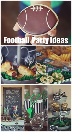 Great ideas for football parties, perfect for a Super Bowl party! See more party ideas … – Super Bowl Trophy DIY Super Bowl Party, Football Snacks, Football Parties, Football Banquet, Kids Football, Flag Football Party, Football Cookies, Football Decor, Tailgate Parties