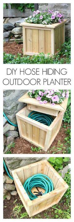 DIY Hose Hiding Outdoor Planter. Gardening Hacks and Tips for the Wannabe Gardener #garden #gardenhacks #gardening #gardeningtips #greenthumb #gardentips #gardeninghacks