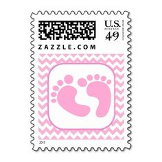 Stylish Pink Foot Prints Baby Shower Stamp