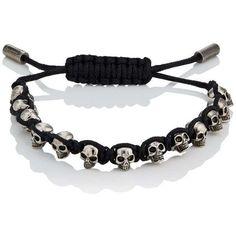 Alexander McQueen Men's Skull-Charm Friendship Bracelet ($295) ❤ liked on Polyvore featuring men's fashion, men's jewelry, men's bracelets, black, mens skull bracelets, mens woven bracelets, mens woven leather bracelets, mens leather braided bracelets and mens charm bracelets #alexandermcqueenskull