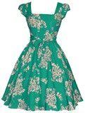 Beautiful Emerald Floral Swing Dress
