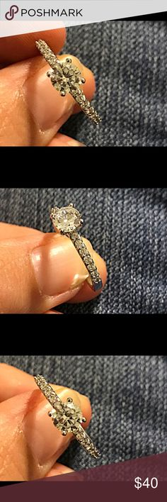 Sterling Silver Plated promise ring Stunning!!! Sterling Silver Plated White CZ promise ring Jewelry Rings