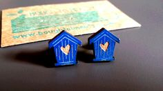 Wooden Birdhouse Earrings available in white and blue. Handmade jewellery, lasercut from upcycled wood. by BoughtoBeauty on Etsy