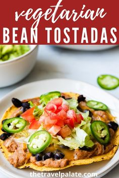 You'll love these Mexican inspired Vegetarian Tostadas! This version is easy to make and is great weeknight recipe idea when you need dinner fast! Made with refried and black beans, this dish is kid and family friendly!