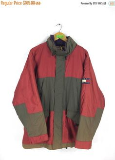 57932afe412a01 TOMMY HILFIGER Jacket Hoodie Large Vintage 90 s Tommy Jeans Tommy  Colorblock Sportswear Windbreaker Hoodie Multicolour Jacket Sport Size L