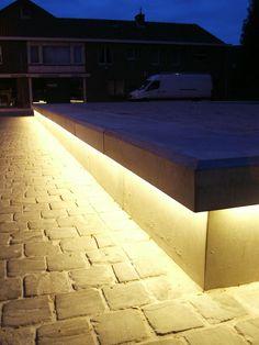 LED Line concrete bench with integral LED strip lighting